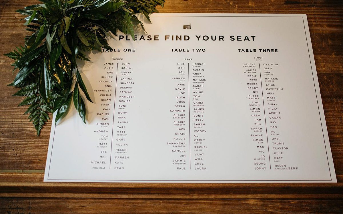 Black and White Monochrome Seating Plan for an industrial wedding venue.