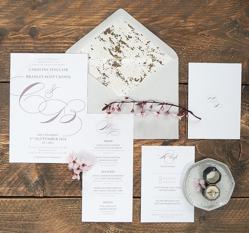 Beautiful, elegant wedding stationery
