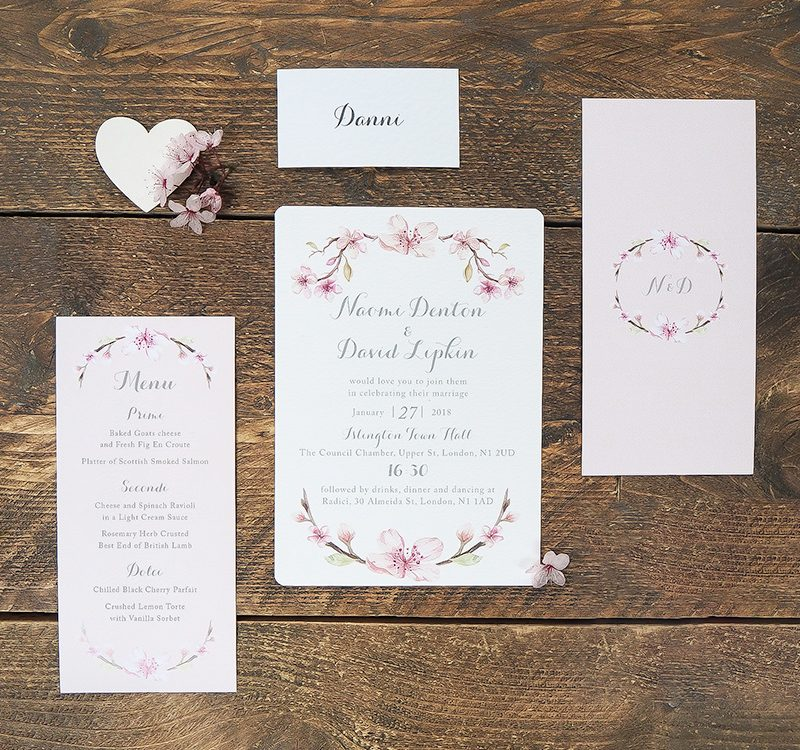 Pretty Pink Floral Wedding Invitations